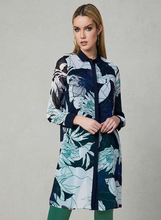 Floral Print Duster Blouse, Blue, hi-res