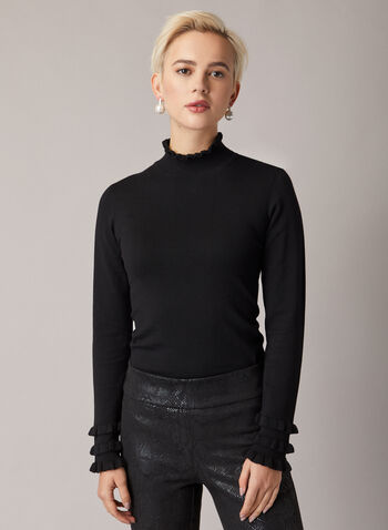 Ruffled Mock Neck Sweater, Black,  sweater, high collar, ruffles, knitting, fall winter 2020, mock neck, holiday