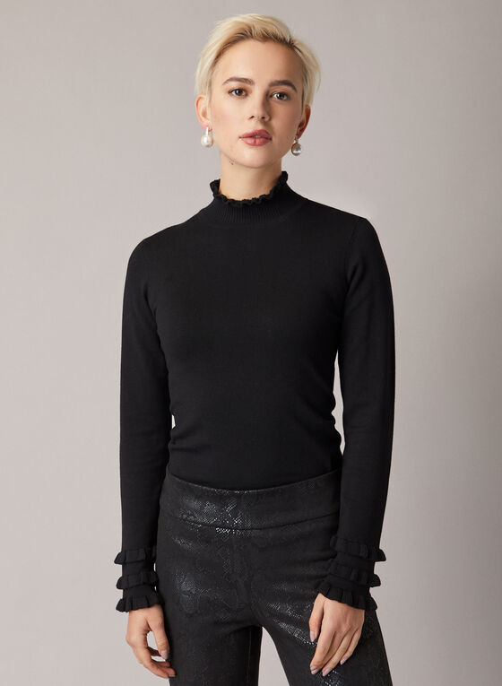 Ruffled Mock Neck Sweater, Black