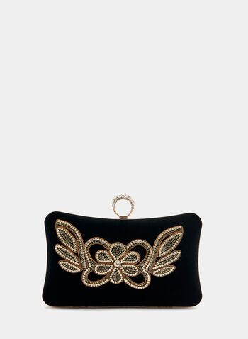 Crystal Embellished Box Clutch, Black, hi-res
