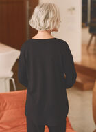 Long Sleeve Zipper Detail Top, Black