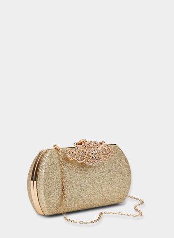 Embellished Glitter Box Clutch, Gold, hi-res,  clutch, evening clutch,