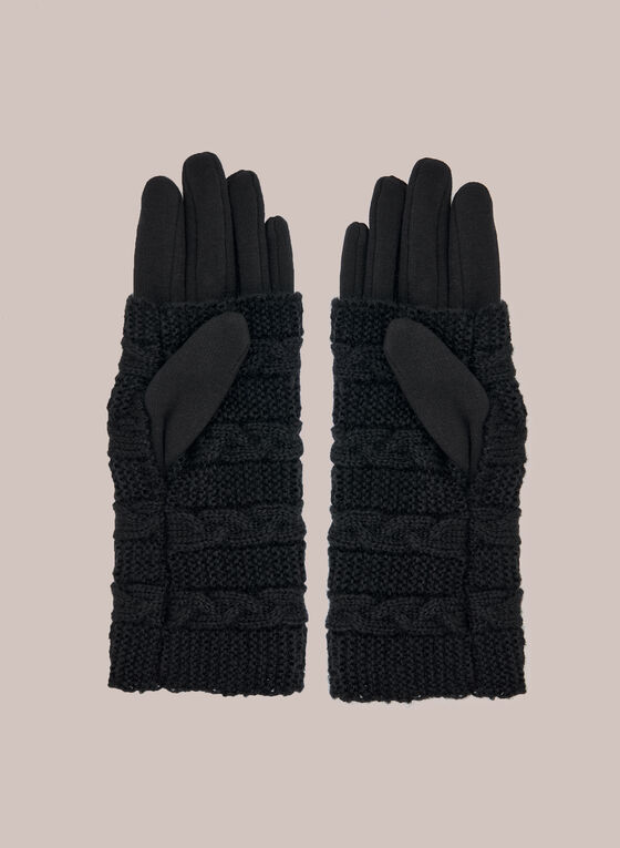 Layered Gloves With Pearls, Black