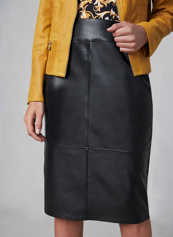 Faux Leather Pencil Skirt, Black