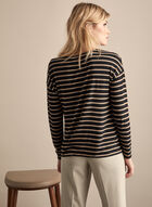Long Sleeve Striped Top, Black