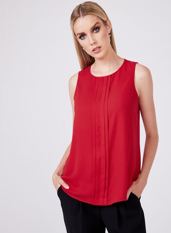 Sleeveless Chiffon Blouse, Red, hi-res