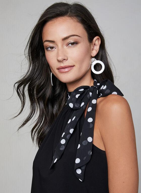 Polka Dot Detail Halter Top, Black, hi-res