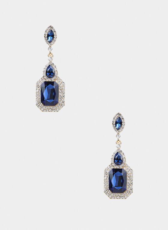 Pendants d'oreilles à cristaux et pierres, Bleu