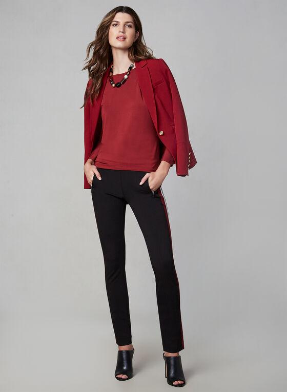 Pantalon à jambe étroite et bordures contrastantes, Noir, hi-res