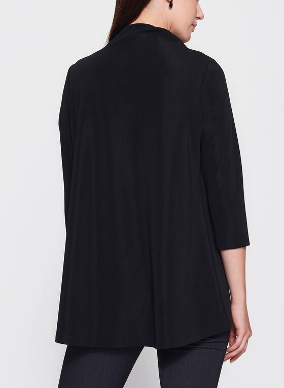 Blouse à manches ¾ et col drapé, Noir, hi-res