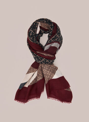 Multiple Print Scarf, Red,  Fall winter 2020, prints, printed, contrast border, hem, fringe