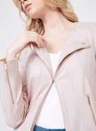 Vex - Long Faux Leather Jacket, Pink, hi-res