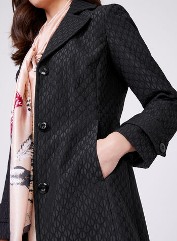 Novelti – Graphic Print Trench Coat, Black, hi-res