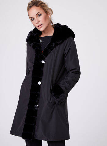 Nuage - Faux Fur Reversible Coat, Black, hi-res