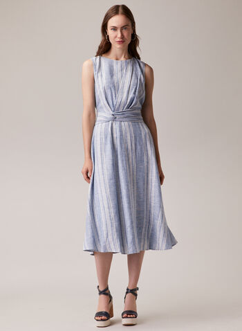 Maggy London - Sleeveless Linen Blend Dress, Blue,  day dress, sleeveless, linen, striped, twist, spring summer 2020
