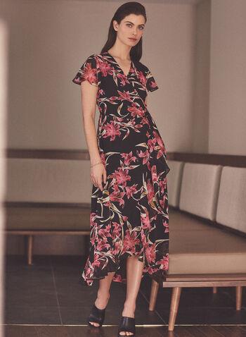 Joseph Ribkoff - Robe portefeuille à motif floral , Noir,  fait au canada, printemps été 2021, ribkoff, lyman, robe, cache-coeur, portefeuille, mousseline, asymétrique, robe, manches courtes