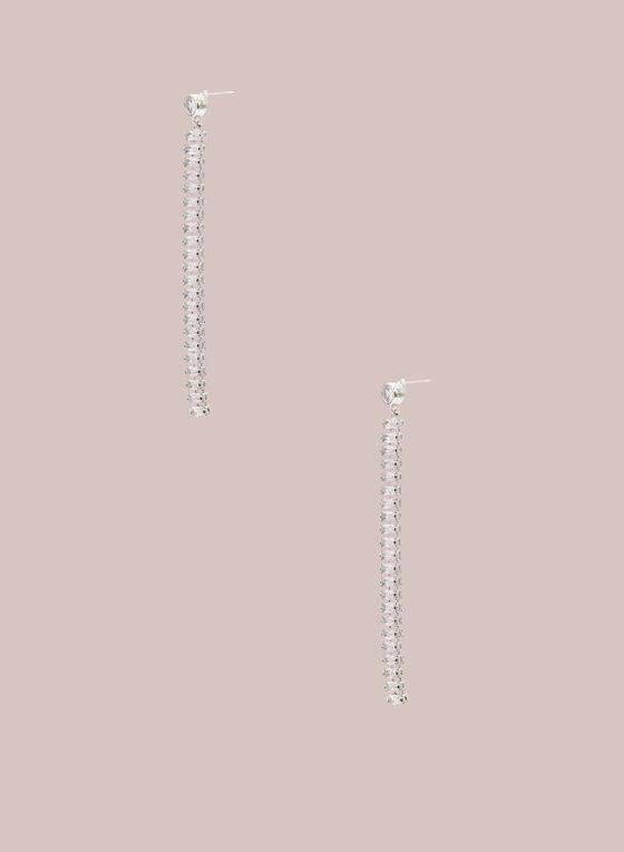 Boucles d'oreilles linéaires à cristaux , Argent