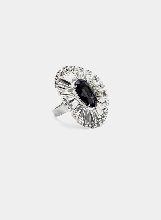 Faceted Stone Ring, Black, hi-res