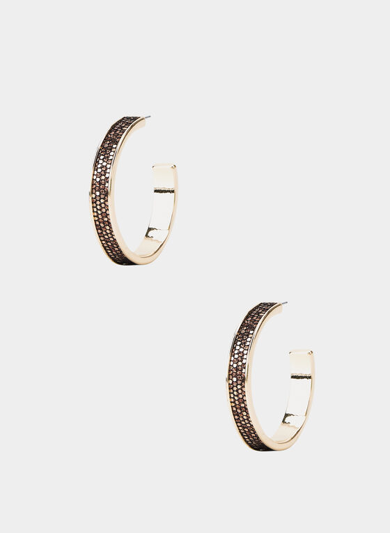 Glitter Hoop Earrings, Brown