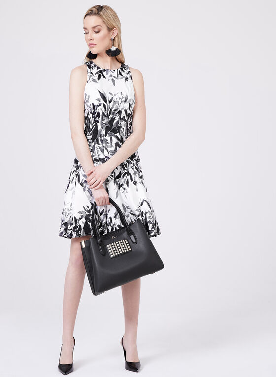 Maggy London - Abstract Floral Print Dress, Black, hi-res