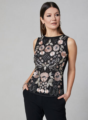 Frank Lyman - Sleeveless Embroidered Top, Black, hi-res