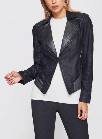 Veste perfecto en similicuir avec maille texturée, Noir, hi-res