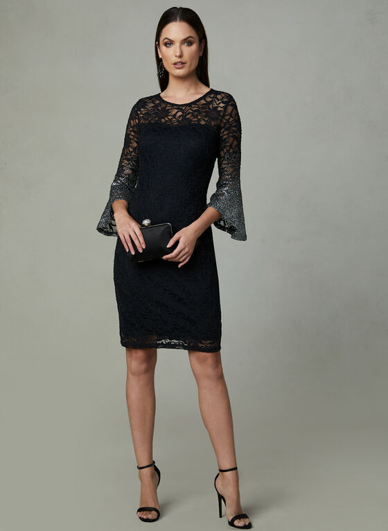 Marina - Ombré Glitter Lace Dress, Black, hi-res