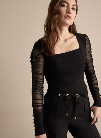 Mesh Ruched Sleeve Top, Black,  canada, top, bloush, long sleeves, ruched sleeves, ruched top, mesh sleeves, metallic, buttons, comfortable top, spring top, spring 2020, summer 2020