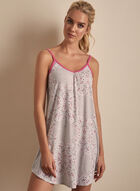 Claudel Lingerie - Floral Print Sleeveless Nightgown, Grey