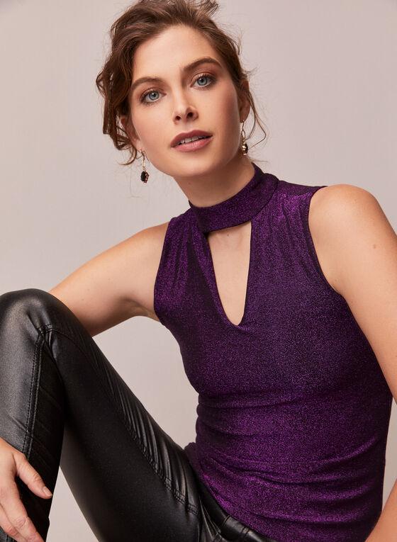 Shimmering Sleeveless Top, Purple