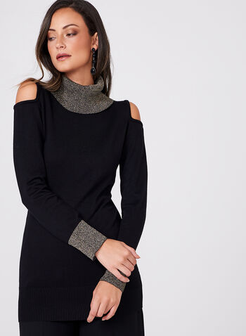 Frank Lyman - Cowl Neck Cold Shoulder Sweater, Black, hi-res
