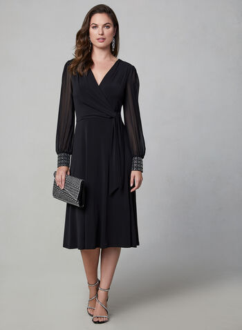 Maggy London - Long Sleeve Dress, Black, hi-res,  Maggy London, dress, midi, long sleeves, rhinestones, jersey, fall 2019, winter 2019
