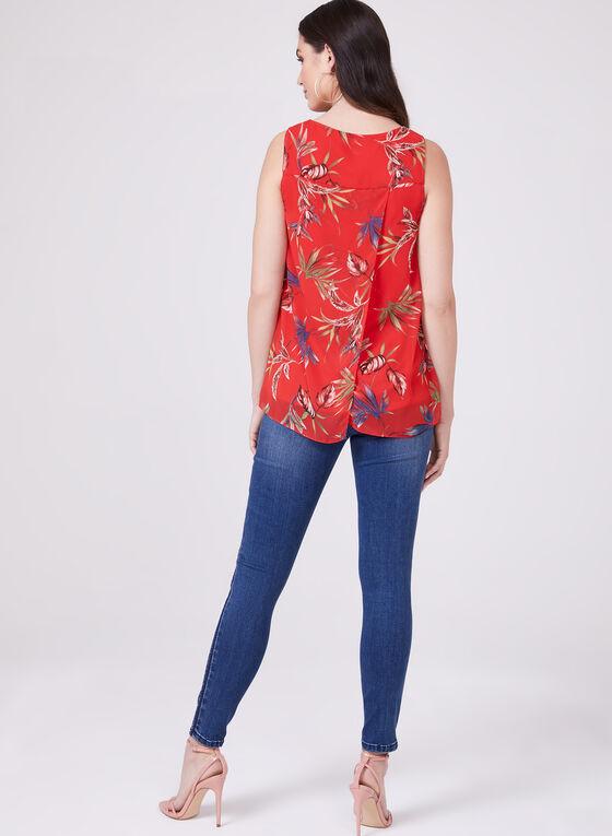Blouse sans manches en mousseline à motif tropical , Rouge, hi-res