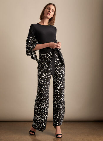 Polka Dot Print Wide-Leg Pants, Black,  canada, Joseph Ribkoff, wide-leg pants, pants, polka dot print, polka dot, spring 2020, summer 2020