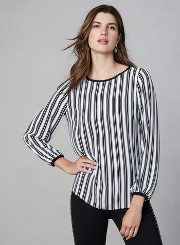 Stripe Print Chiffon Blouse, White, hi-res,  chiffon, stripe, balloon sleeves, fall 2019, winter 2019