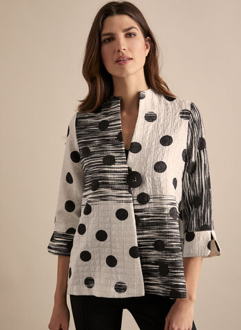 Joseph Ribkoff - Dot & Charcoal Print Jacket, White,  jacket, 3/4 sleeves, crumpled, dots, charcoal, round collar, single button, partially open, textured, spring summer 2020