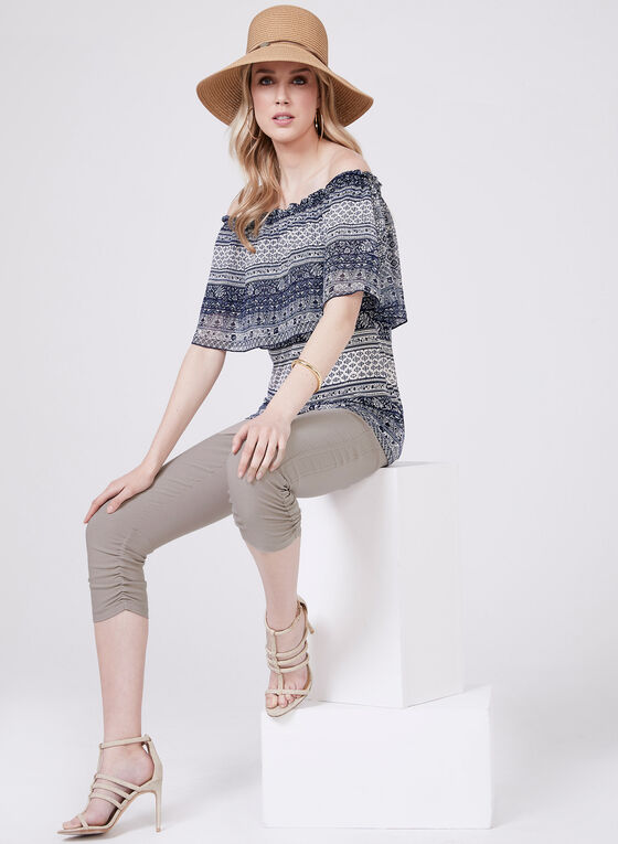 Off The Shoulder Chiffon Top, Blue, hi-res