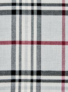 Plaid Print Wrap Scarf, Grey, hi-res