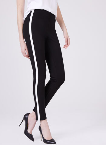 Stripe Trim Pull-On Leggings, Black, hi-res