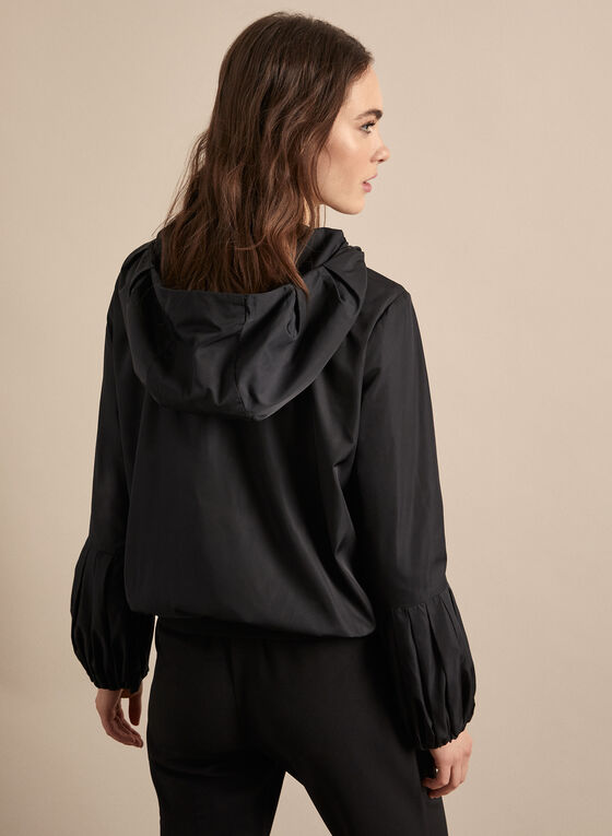 Hooded Jacket With Balloon Sleeves, Black