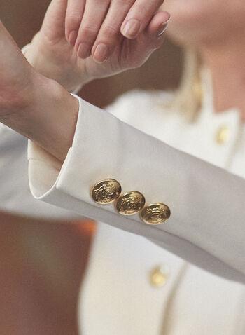 Veste redingote à boutons, Blanc cassé,  veste, redingote, bouton, col montant, printemps été 2021