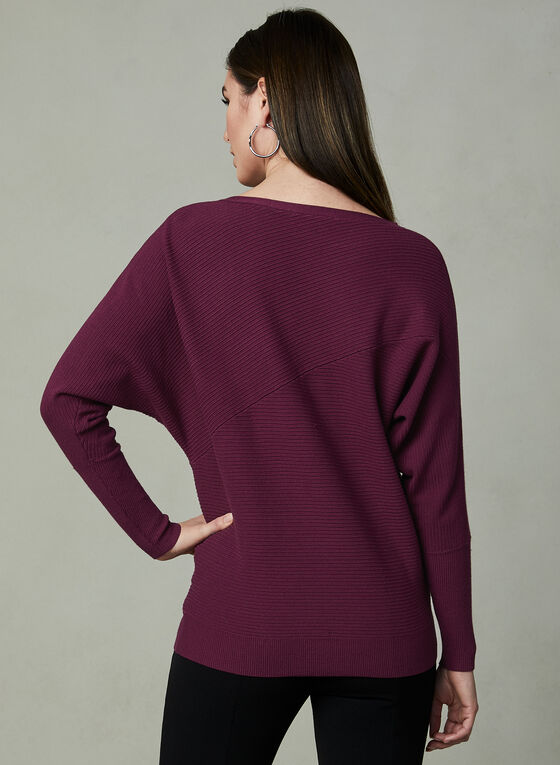 Dolman Sleeve Knit Sweater, Red, hi-res