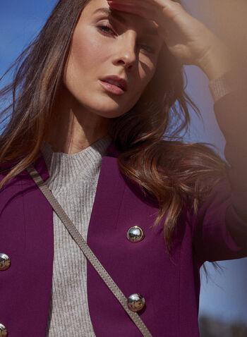 Veste redingote à boutons, Violet,  veste, redingote, col cranté inversé, boutons, manches longues, automne hiver 2020