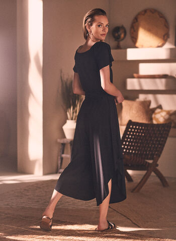 Off-the-Shoulder Jumpsuit, Black,  jumpsuit, bardot, off the shoulder, short sleeves, wide leg, belted, spring summer 2021
