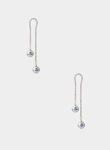 Pearl Dangle Earrings, Grey, hi-res,