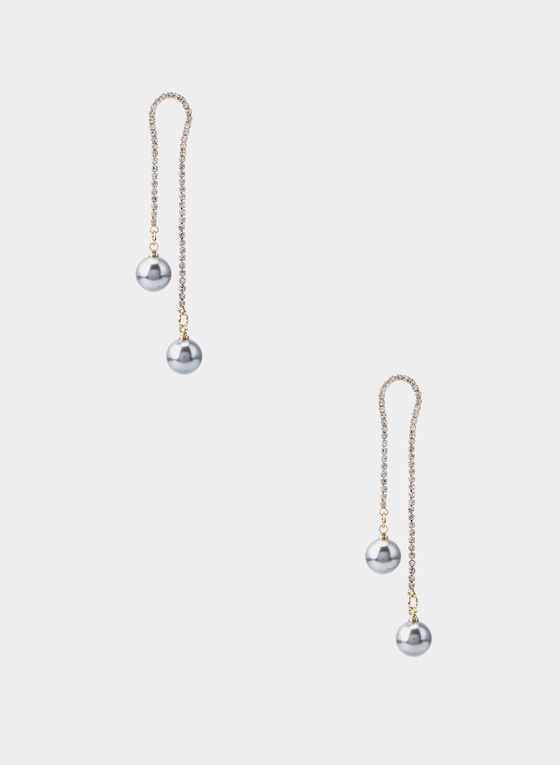 Boucles d'oreilles à perles et cristaux, Gris
