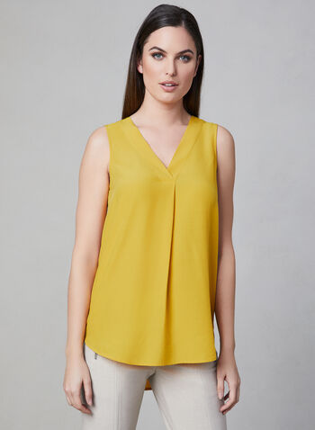 V-Neck Sleeveless Blouse, Yellow, hi-res