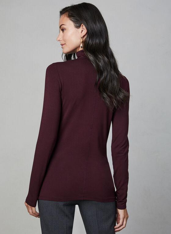 Long Sleeve Mock Neck Top, Purple