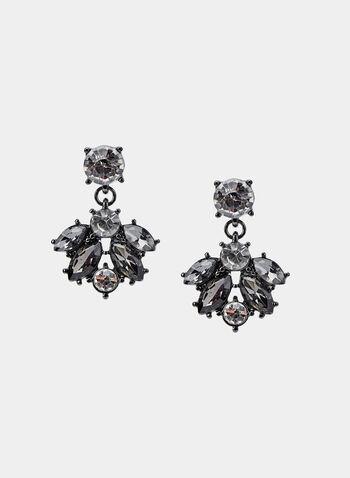 Boucles d'oreilles à pierres facettées, Gris, hi-res