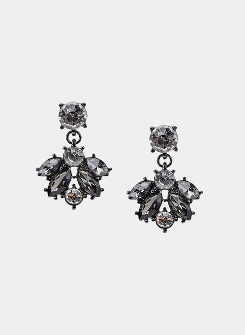 Mixed Stone Dangle Earrings, Grey, hi-res